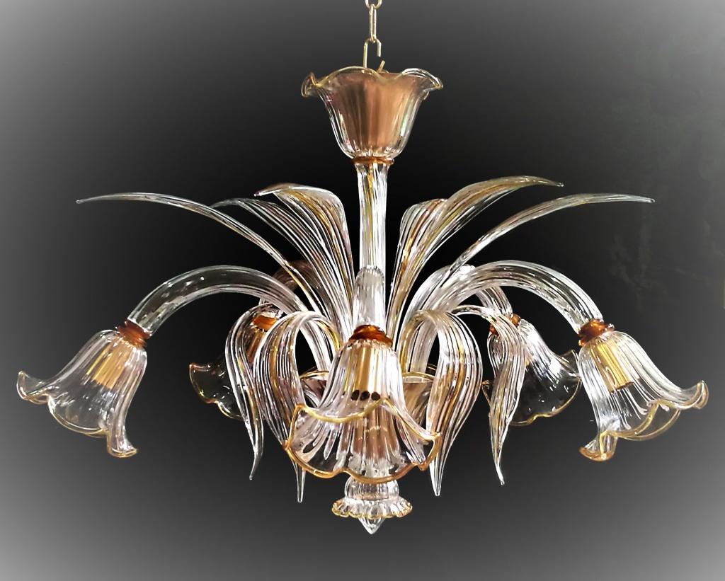 Plafoniere In Vetro Per Lampadari : Plp bianca plafoniera con riccioli in vetro cristalensi bis